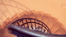 Down the old spiral staircase in the building stock footage