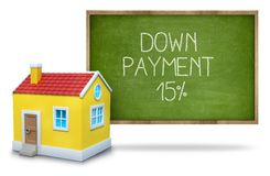 Down payment 15 percent on Blackboard with 3d. Down payment 15 percent on green Blackboard with 3d house Stock Photography