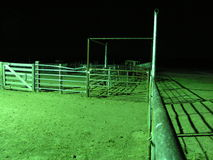 Down the Pipe At Night. A corral at night that seems to be Stock Photo