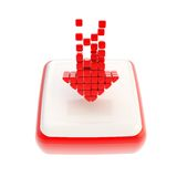 Down red arrow symbol icon over square button Stock Photo