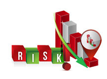 Down risk graph. Illustration design over a white background Royalty Free Stock Image