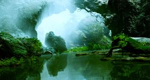 Down The River. 3D Illustration where you can see rock formations, vegetation and a calm river Stock Images