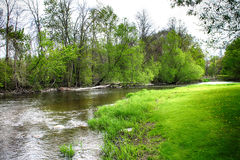 Down By The River. The Milwaukee River Looking down Stream Royalty Free Stock Image