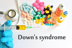 Down's syndrome. Syringe with drugs for Down's syndrome Royalty Free Stock Photos