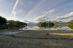 The shores of Derwent Water and Keswick on a summers morning, Lake District, Cumbria England stock images