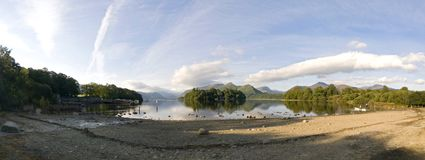 The shores of Derwent Water and Keswick on a summers morning, Lake District, Cumbria England royalty free stock photos