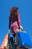 Down side shopping woman Royalty Free Stock Photos