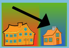 Down Sizing. Vector illustration of one large building, one small building and a black arrow pointing downwards royalty free illustration