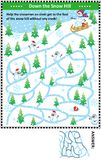 Down the snow hill with snowman maze game Stock Photography