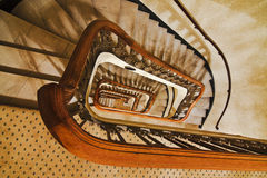 Down Stairs. All buildings can have staircases, some just fancier than others Stock Photo