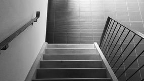 Down the stairs. Black & white down the stairs Royalty Free Stock Photos