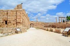 Down the Street. Ancient ruins in Jerash, Jordan stock images