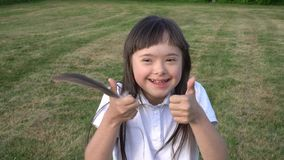 Little girl have fun stock footage