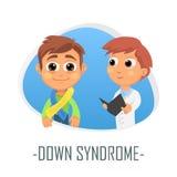 Down Syndrome läkarundersökningbegrepp också vektor för coreldrawillustration Arkivfoto