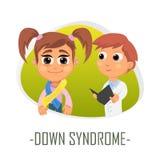 Down Syndrome läkarundersökningbegrepp också vektor för coreldrawillustration Royaltyfri Bild