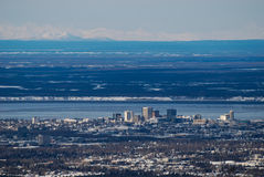 Down Town Anchorage. A view of downtown Anchorage , Alaska from high above the city Royalty Free Stock Photography