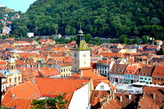 Down town, Brasov, Transilvania. Brașov is located in the central part of the country, about 166 kilometres (103 miles) north of Bucharest and 380 km (236 mi) Royalty Free Stock Image