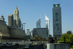 Down town Dubai. SHEIKH ZAYED ROAD,DUBAI, UAE-16TH AUG 2015:-Dubai main thouroughfare is Sheikh Zayed Road Royalty Free Stock Photo