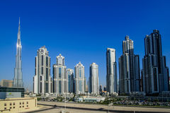 Down town Dubai,UAE. DUBAI -MAY 11:Down town - group of buildings in Dubai down town, part of Business crossing project . 11 May 2014 , Dubai, UAE Royalty Free Stock Image