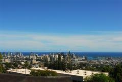Down Town Honolulu. A view of down town Honolulu from Kamehameha School stock images
