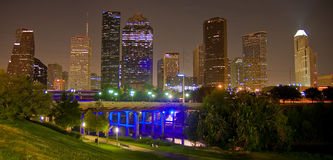 Down Town Houston by night. Down Town Houston and Sabine Bridge royalty free stock photography