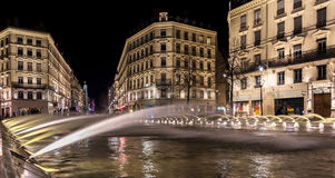 Down town Lyon France by night 1. Down town Lyon France view on the beautiful fountain at night. Long exposure photography Stock Photo