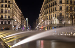 Down town Lyon France by night 3. Down town Lyon France view on the beautiful fountain at night. Long exposure photography Royalty Free Stock Photos