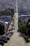 Down town San Francisco. Long Busy Street San Francisco royalty free stock photos