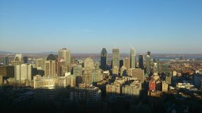 Down town sunny Montreal towers stock photo