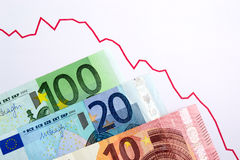 Down trend Euro currency. Trading graph Stock Photos