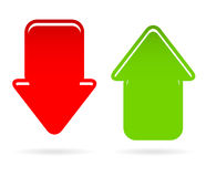 Down, up arrows with highlight. Modern down and up arrows with highlight Royalty Free Stock Photo