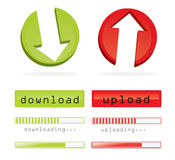 Down-and upload. A set of down-and upload symbols: Arrows, buttons & bars with loading progress Stock Photography