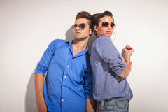 Down view of a casual couple posing together Royalty Free Stock Image