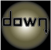Down. Word down against a dark background Royalty Free Stock Images