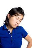 Downcast eyes. Asian girl is sad and upset Stock Image