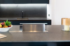 Downdraft kuchenki kapiszon, metalu srebro Zdjęcie Royalty Free