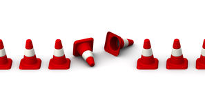 Downed traffic cones Royalty Free Stock Photo