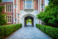 The Downes Memorial ClockTower, at Trinity College, in Hartford royalty free stock image
