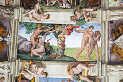 The Downfall of Adam and Eve, Sistine Chapel royalty free stock images
