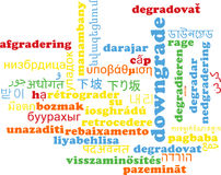 Downgrade multilanguage wordcloud background concept Royalty Free Stock Photos