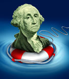 Downgraded currency. Drowning dollar bill symbol featuring the vintage portrait of George Washington with a life preserver in the water saving the downgraded Stock Photography