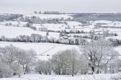 Downham Hügel im Schnee Lizenzfreie Stockfotos