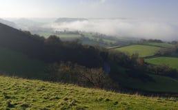 Downham Hill & Long Down in Fog Stock Images