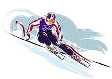 Downhil skidåkare Stock Illustrationer
