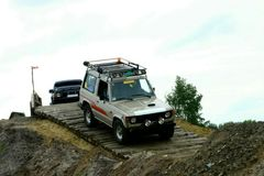 Downhill. Mitsubishi pajero during off road competition Royalty Free Stock Photo