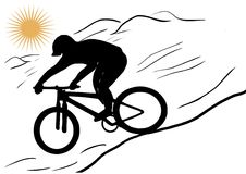 Downhill. Vector graphics illustration. Mountain bike rider downhill Royalty Free Stock Photos