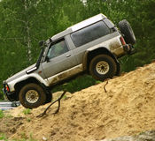 Downhill. Nissan patrol during off road competition Royalty Free Stock Images