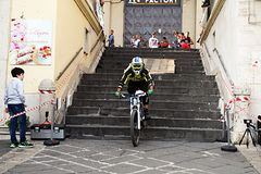 Downhill athlet. A athlet during a downhill bike race at eboli in south italy stock photos