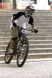 Downhill Bicycle Racing Action Royalty Free Stock Photos