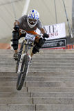 Downhill Bicycle Racing Action Stock Images